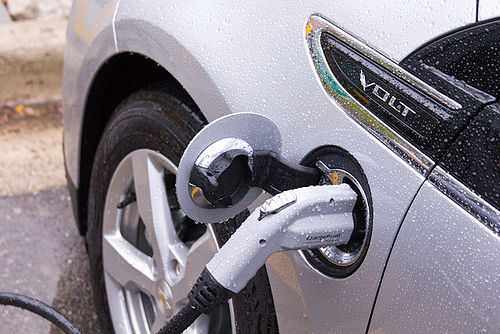 Chevy Volt at a charging station