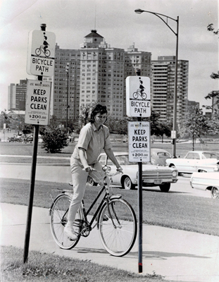 Woman on bike 1965