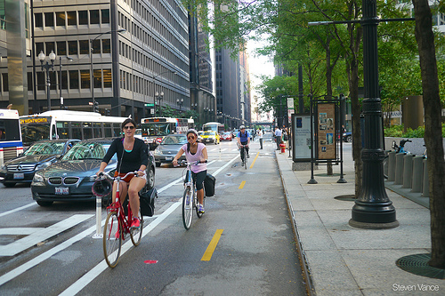 Bike lane in downtown Chicago
