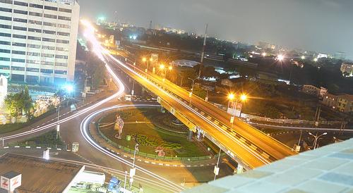 Traffic circle in Lagos, Nigeria