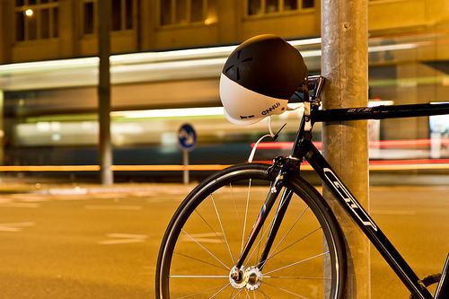 Bike with helmet hanging from handlebars