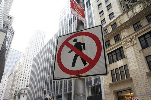urban no walking sign