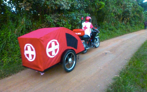 motorbike ambulance on rural road