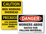 Men Working Above Signs
