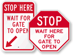 Parking Gate and Stop at Gate Signs