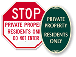 Residents Only Signs