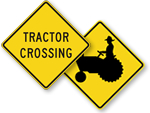 Tractor Crossing Signs