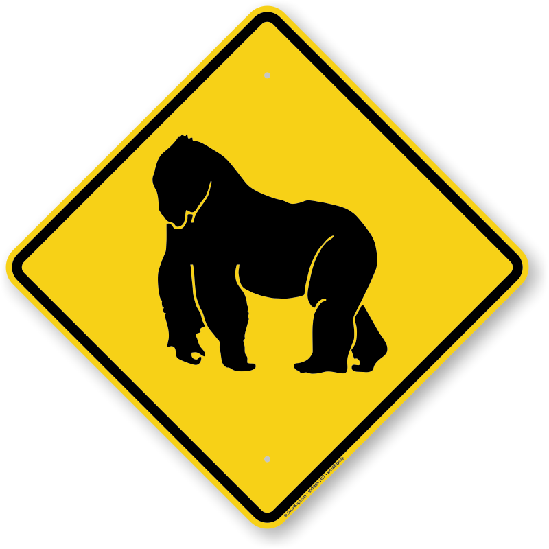 Gorilla Crossing Sign /'Gorilla XING/' Sale Priced AND Free Shipping.