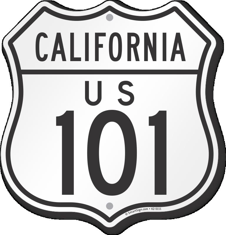 California Route 1 Road Sign Laptop//bumper sticker 100mm X 100mm