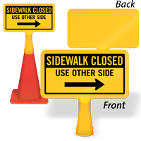 Sidewalk Closed Right Arrow ConeBoss Sign