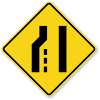Left Lane Ends (Symbol) - Traffic Sign