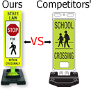 Our vs competitors Pedestrian Signs