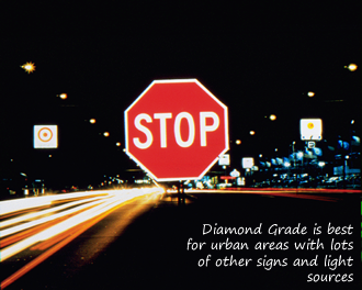 Diamond grade stop sign